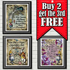 Alice In Wonderland Quotes Prints Vintage Wall Art Pictures Dictionary