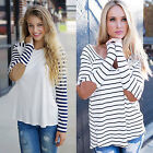 Women Casual Strip Long Sleeve Blouse Loose Autumn Ladies Base T-shirt Tops New