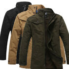 Vintage Mens Causal Jacket Trench Coat Outwear Winter Thicken Parka Overcoat