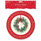 Xmas Traditional Tree Cream/Red Party ware - Table Cover, Napkins & Plates
