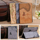 World Map Retro Leather Magnetic Hard Folding Case Cover For iPad mini 1/2/3/4