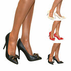 WOMENS STILETTO STUDS BOW HIGH MID HEEL COURT SHOE PUMPS SMART SANDAL SIZE PROM