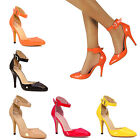 NEW WOMENS LADIES STILETTO HIGH HEEL HEELS POINTED TOE STRAPPY COURT SHOES SIZE