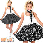 Black Polka Dot Skirt Ladies Fancy Dress 50s Rock and Roll Womens Adults Costume