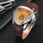 JARAGAR Men Leather Self-winding Mechanical Automatic Triangle Dial Wrist Watch image