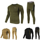 Mens Army Style Winter Warm Thermal Underwear Set Top+Long Johns Pants Trousers