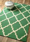 nuLOOM Hand Hooked Homespun Moroccan Trellis Wool Contemporary Emerald Area Rug