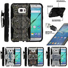 For Samsung Galaxy S7 G930 Clip Stand Case + Tempered Glass - Tree Branch Camo