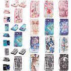 For Samsung LG Huawei Colored Drawing Leather With Strap Stand Card Cases Covers