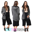 Womens Hooded Tweed Jacket Ladies Long Sleeve Italian Hoodie Coat Jacket Duster