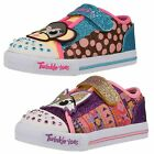 GIRLS SKECHERS TWINKLE TOES RIPTAPE STRAP TRAINER IN MULTI & PURPLE CRITTER BUDS