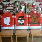 Christmas Deer Snowman Santa Claus Chair Cover Sets Home Winter Decoration