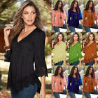 New Women Lace 3/4 Sleeve V Neck T-Shirt Ladies Casual Loose Tops Blouse T-shirt
