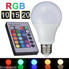 3/5/7/10/15W 16 Colors Changing RGB LED Light Bulb Remote Control Globe Lamp