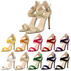Women Faux Velvet Leather Pumps High Heels Party Shoes Open Toe Wedding Sandals