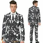 Mens Suitmeister Black Halloween Print Suit Fancy Dress Costume Adult Outfit