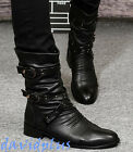 Mens stylish Ankle chelsea high top Boots Zipper Rivet Buckle shoes casual hot