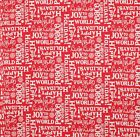 CHRISTMAS WISHES WRITING RED QUILT SEWING CRAFT FABRIC Free Oz Post