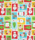 CHRISTMAS WISHES  SANTA RUDOLPH PATCH QUILT SEWING CRAFT FABRIC Free Oz Post