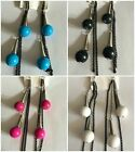 Pair of Retro Style Ball Drop & Chain Dangle Earrings 4 Colours to Choose From