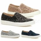 WOMENS LADIES FLAT GLITTER SHINY SLIP ON CASUAL PUMPS TRAINERS SHOES SIZE