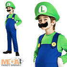 Deluxe Luigi Super Mario Bros Boys Fancy Dress Kids Nintendo Game Costume 3-10 Y