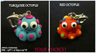 Polymer Clay Octopus Charm-COLOR CHOICE-Cell Phone Lanyard OR Heart Clasp