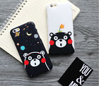 3D Kumamon Cartoon Front Tempered Glass Soft Case Cover For Iphone 6 6s 7 Plus
