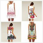 Casual Summer Dress Round Neck Sleeveless Vintage Print A-Line Dresses UR