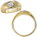 0.03 Carat G-H Diamond Classic Solitaire Mens Wedding Ring 14K White Yellow Gold