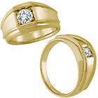 0.50 Carat G-H Diamond Fancy Solitaire Mens Man Anniversary Ring 14K Yellow Gold