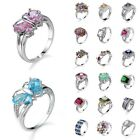 Women Sapphire Amethyst Wedding Ring 925 Solid Silver White Gold Size 6-10
