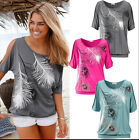 Cool Fashion Relax time Feather Printing Ladies Csual Coat T-shirt