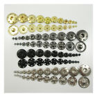 SOLID BRASS NON RUST SEW ON SNAP FASTENERS GOLD SILVER GUN METAL BLACK 6mm -30mm