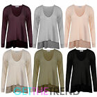 WOMENS V NECK RIB KNITWEAR JUMPER LADIES LONG SLEEVE LIGHTWEIGHT RIBBED TOP