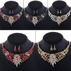 Fashion Women Rhinestone Flower Pendant Statement Choker Necklace Earrings Set