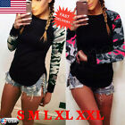 Women's Casual Camouflage Long Sleeve Tops Shirt Ladies Loose T-shirt Blouse Top