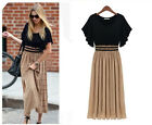 Women's Summer Chiffon Sleeveless Full Dress Maxi Clothes Evening Plus Size Tops