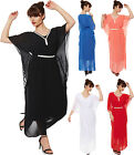 Womens Diamante Belted Chiffon Lined Sheer Batwing Party Dress Ladies Kaftan