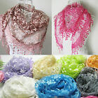 Fashion Women Long Print Lace Scarf Wrap Ladies Shawl Girls Large Silk Scarves A