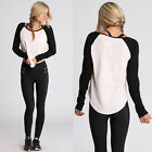 Sexy Womens Casual Long Sleeve Tops Loose Blouse T Shirt Black White Shirts L M