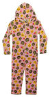 Childrens Girls Kids Emoji Emoticon & Little Monkey Pink Hooded Onesie Pyjamas