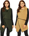 Womens Cowl Neck Coat Jacket Cape Ladies Long Sleeve Clasp Sheer Plain 8-16