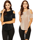 Womens Pleated Short Sleeve Top Ladies Cut Out Cold Shoulder Dipped Hem 6-12