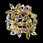 GORGEOUS NATURAL GEM CITRINE,SAPPHIRE,RUBY STERLING 925 SILVER FLOWER RING Sz 8