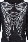 AFFLICTION Womens Hoodie Sweatshirt ZIP UP Jacket MICHELLE Biker RHINESTONES $74
