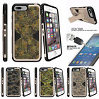 """For Apple iPhone 7 (4.7"""") Gold Case Clip Stand + Tempered Glass Abstract Camo"""