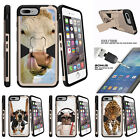 "For Apple iPhone 7 (4.7"") Gold Case Clip Stand + Tempered Glass Cow Licking Nose"