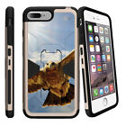 """For Apple iPhone 7 (4.7"""") Gold Case Clip Stand + Tempered Glass Brown Deer"""