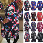 Women Xmas Print Swing Dress Ladies Christmas Long Sleeve Flared Party Dress Lot